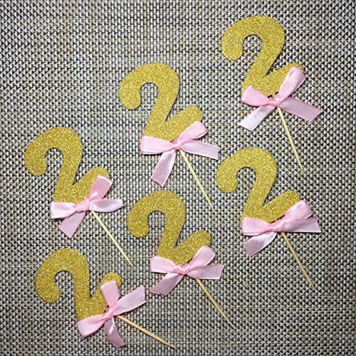 Pink and Gold 2nd Birthday Decorations.Number 2 Cupcake Toppers Pink 6CT