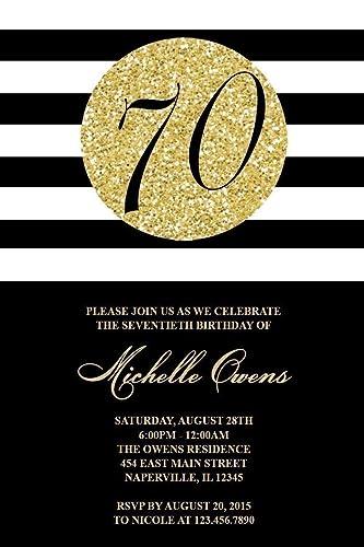 amazon com 70th birthday party invitations black and gold glitter