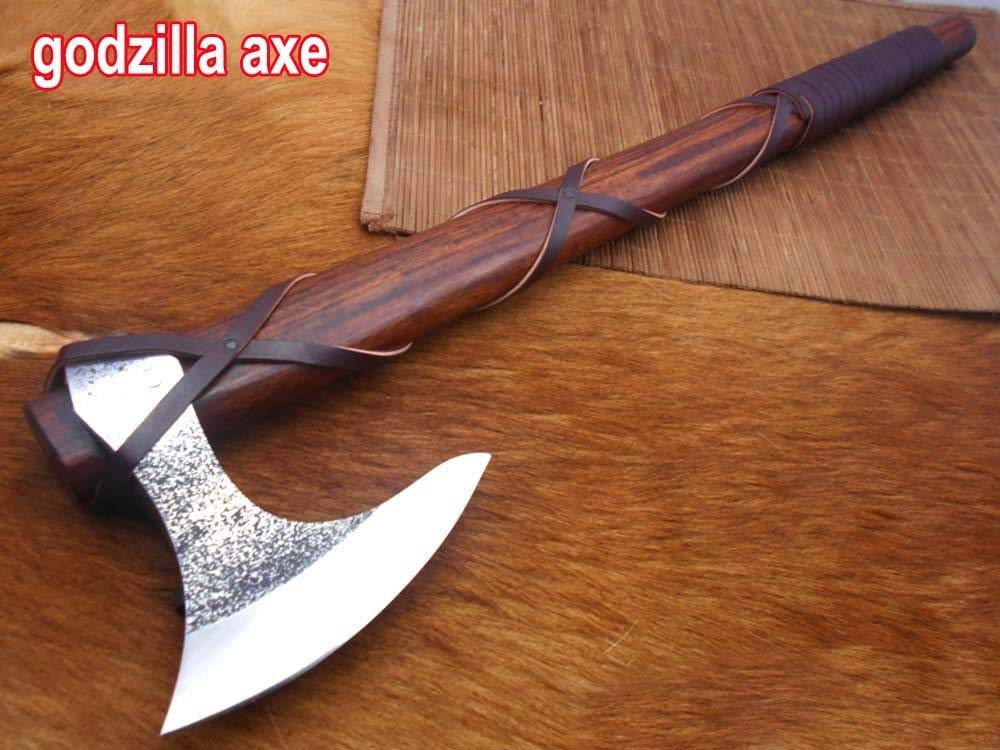Damascus Depot 20 Inches Long Tomahawk Axe, Carbon Steel Bearded Hiking Axe, Rose Wood Handle w