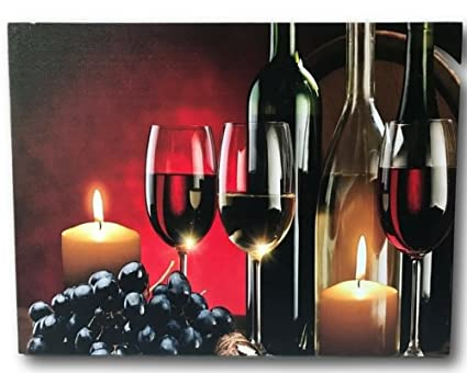 Amazon.com: Wine and Grape Decor - LED Canvas Print with Red Wine ...