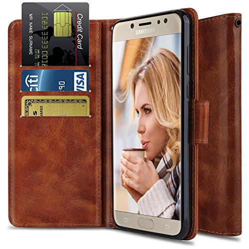 OTOONE Wallet Stand Case for Galaxy J7 Prime / J7 V / J7 Perx with Genuine PU Leather Flip Cover and Card Slot Holder Design for Galaxy J7 Sky Pro / J7 2017 (Bronze)