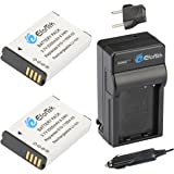 EforTek Replacement Battery (2-Pack) and Charger kit for Garmin HD Action Camera 010-11654-03, Alpha, Montana 600, 600 CAMO, 600T, 650, 650T, Monterra, P11P15-04-N02, Virb, Virb Elite