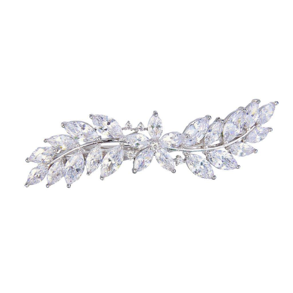 EVER FAITH Women's CZ Marquise-shaped Hibiscus Flower Leaf Hair Barrette Clip Clear Silver-Tone