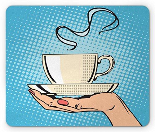 se Pad, Woman Hand Holding A Hot Tea Cup Comic Strip Pop Art Retro Kitsch Illustration, Standard Size Rectangle Non-Slip Rubber Mousepad, Ivory Sky Blue ()