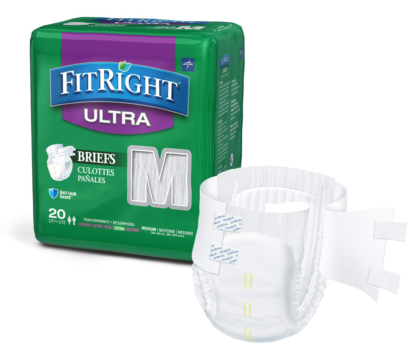 """FitRight Ultra Adult Diapers, Disposable Incontinence Briefs with Tabs, Heavy Absorbency, Medium, 32""""-42"""", 4 packs of 20 (80 total)"""