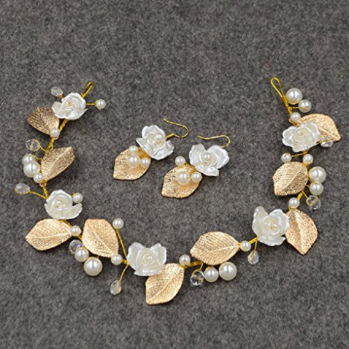 Handmade Baroque Pearls, Flowers Gold Leaves Headpiece and Earrings Set Jewelry For Wedding/Sweet Sixteen/Quinceanera