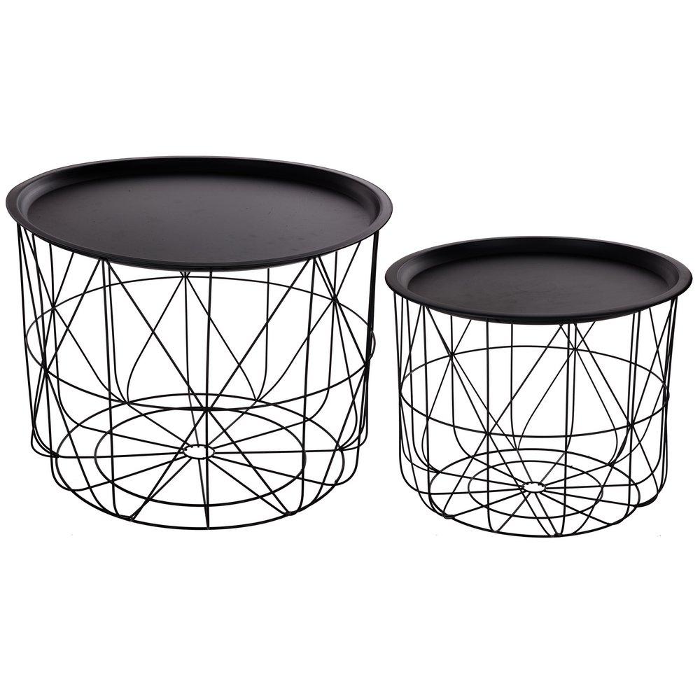 Set di 2 tavolini da caffè sovrapponibili con ripiani amovibili - Design e moderni - Colore: NERO ATMOSPHERA