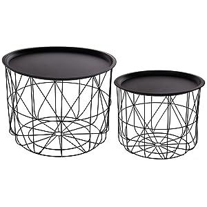 Set di 2 tavolini da caffè sovrapponibili con ripiani amovibili - Design e moderni - Colore: NERO