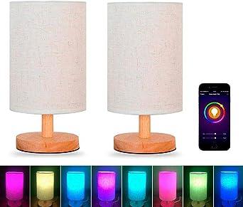 Alexa WiFi Inteligente Lámpara de Noche Dormitorio Madera Lámparas de Mesa Regulable Decoloración Colorida Bombilla LED Con Pantalla de Lino y Madera Maciza Compatible Con Alexa Y Google,2Pack: Amazon.es: Iluminación