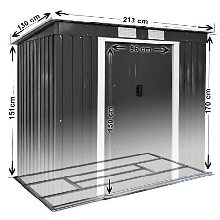 TecTake Cobertizo caseta de jardín metálica de Metal Invernadero almacén | + fundación Modelos (Tipo 4 | Gris | no. 402569)
