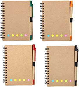 KisSealed 4 Pack Spiral Notebook Kraft Paper Notepad with Pen in Holder and Sticky Notes, Page Marker Colored Index Tabs Flags (brown)