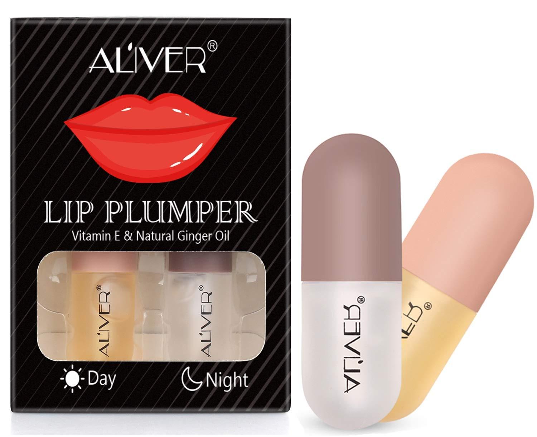 Lip Plumper, Day and Night Double Effect Lip Enhancer and Lip Care Serum Set, Lip Balm Lip Plumping Lip Maximizer for Fullness, Plumping & moisturizing Lips