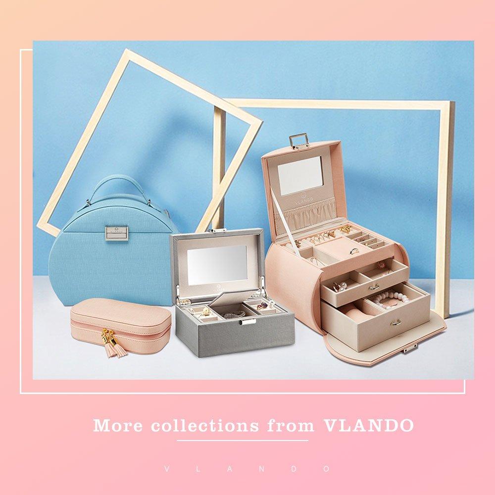 Vlando Jewelry Box, Faux Leather Medium Jewelry Organizer, Vintage gift for Women -Pink-Cross Pattern by Vlando (Image #8)