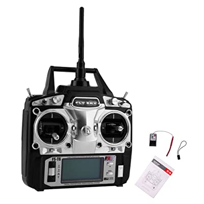 RCmall Flysky FS-T6 High Precision 2.4G 6 Channel 6ch Radio Controller Transmitter and Receiver Kit for RC Helicopter Racing Drone: Toys & Games