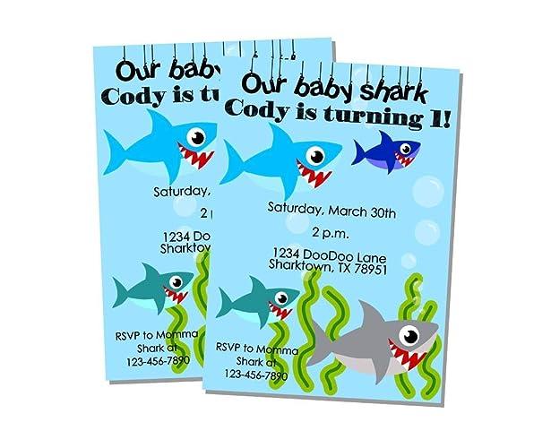 Baby Shark Invitations Baby Shark Boy Party Decorations Baby Shark Doo Doo  Birthday Party Song Invites