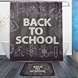 Cooper girl Back To School Waterproof Shower Curtain and Doormat Bath Floor Mat Sets