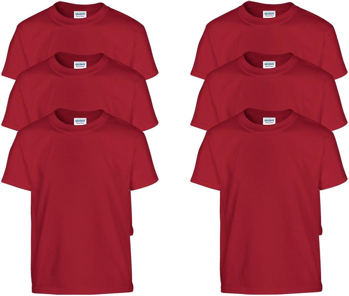 Gildan Boys Heavy Cotton 100/% Cotton T-Shirt Pack of 6