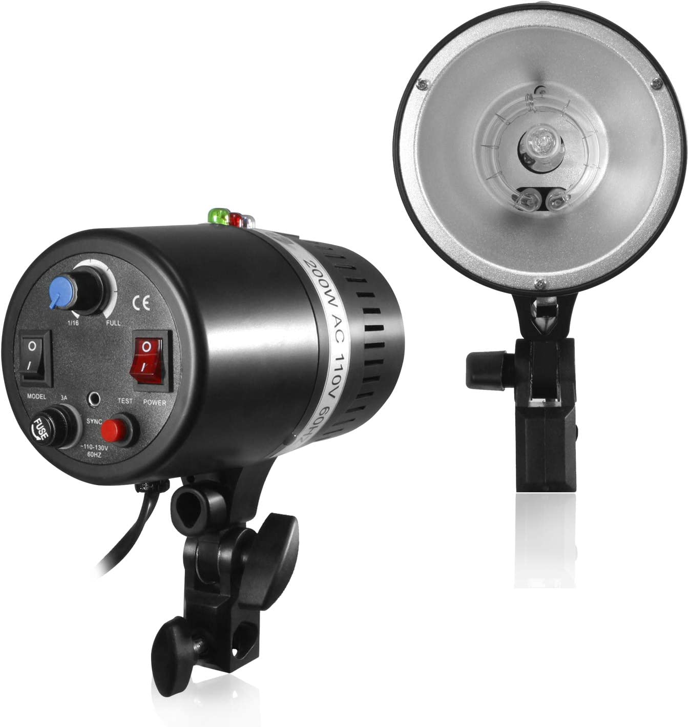 Photo Studio Test Button AGG2044 Mount on Light Stand Fuse Umbrella Input Professional Photography Use 200 Watt Studio Flash//Strobe Light Wireless Triggering Available