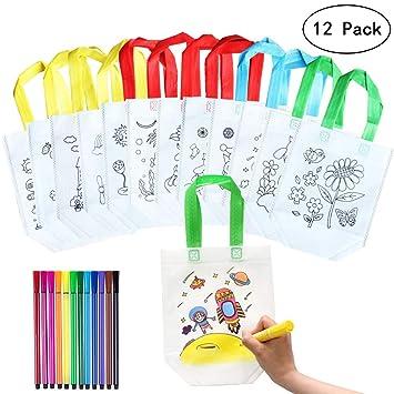 Yuccer Bolsa para Colorear, 12 PCS Bolsas para Pintar con 12 PCS Rotuladores para Tela Niño Mochila para Colorear