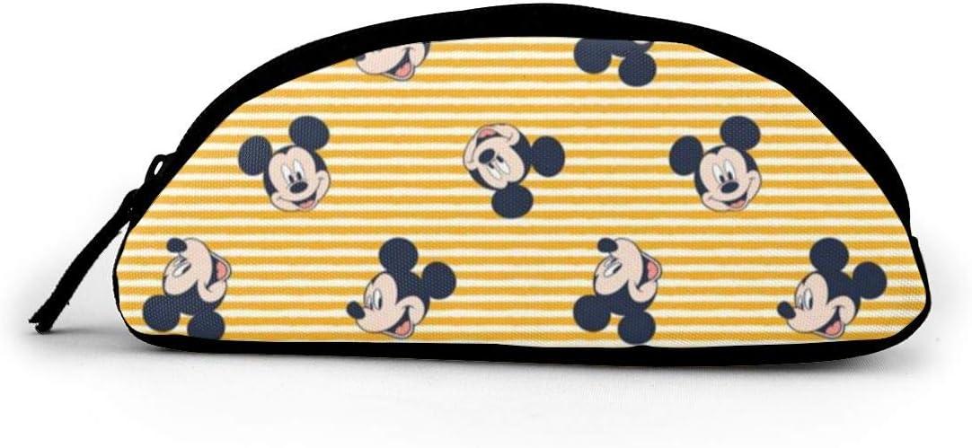 Estuche grande de algodón con diseño de Mickey Mouse, con cremallera, semicircular, para maquillaje escolar: Amazon.es: Oficina y papelería