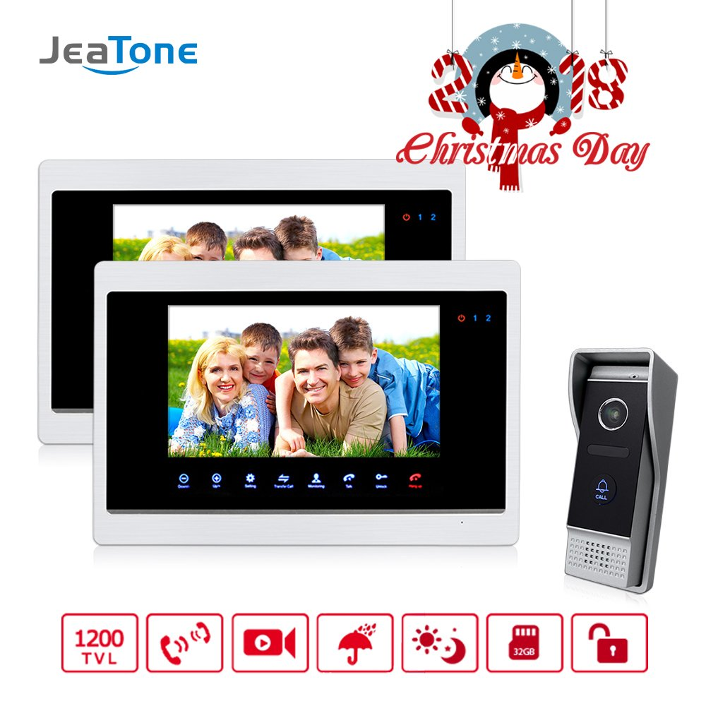 Jeatone 7 inch Touch Panel 2 Monitor Video DoorPhone Unlocking, Monitoring, Taking Pictures Intercom HD 1200TVL Doorbell 10Outdoor Panel by Jeatone
