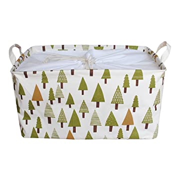 Jacone Larger Kids Storage Bins Waterproof Fabric Storage Baskets With  Handles And Drawstring Closure,18.1
