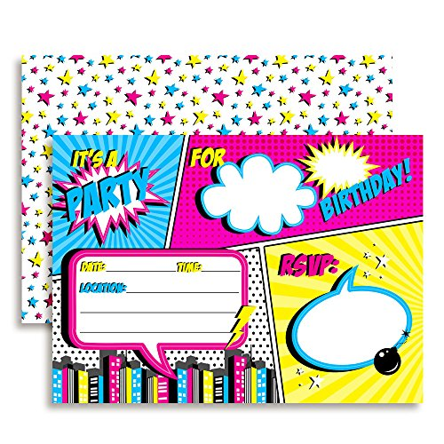 Super Hero Comic Book Birthday Party Invitations for Girls, 20 5