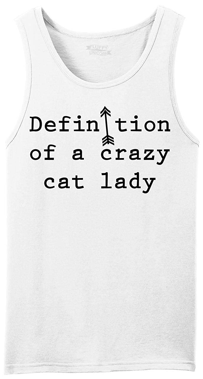 Comical Shirt Mens Definition Crazy Cat Lady Tank Top