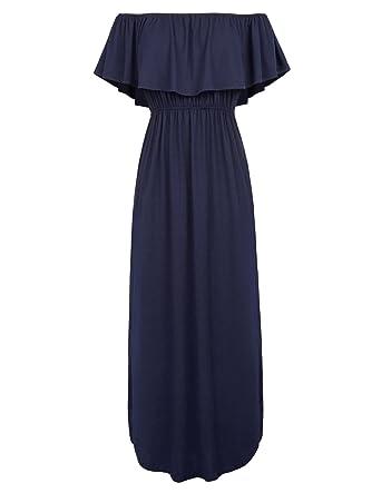 40129c9895 GRACE KARIN Womens Off The Shoulder Ruffle Party Summer Dresses Maxi Dress  Dark Blue