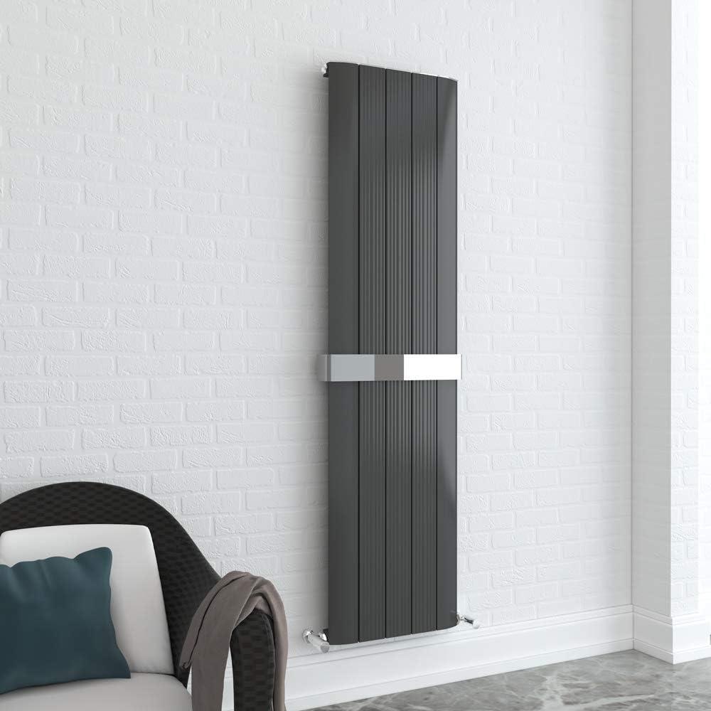 x 1800mm 470mm Cariad Single Panel Anthracite Vertical Radiator Aluminium w h