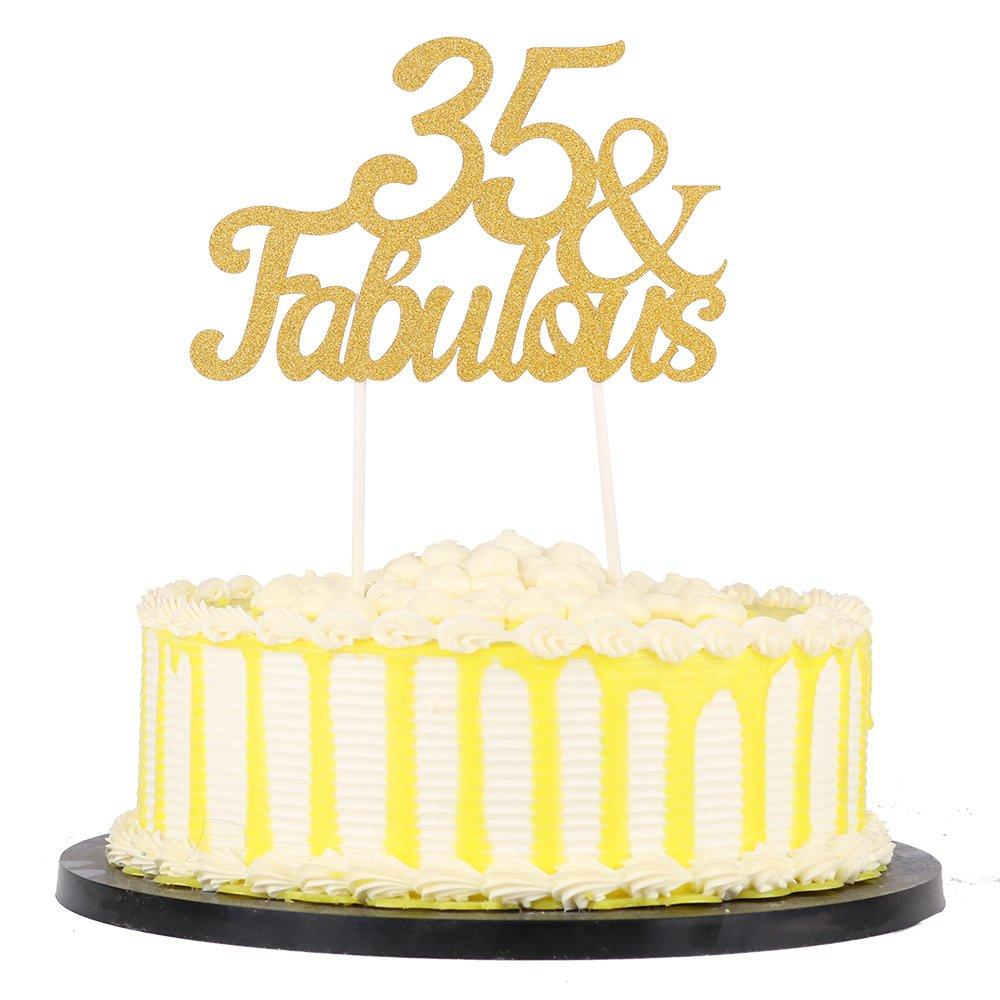 Amazon.com: PALASASA Gold Glitter 35 & Fabulous Cake Topper, Wedding ...