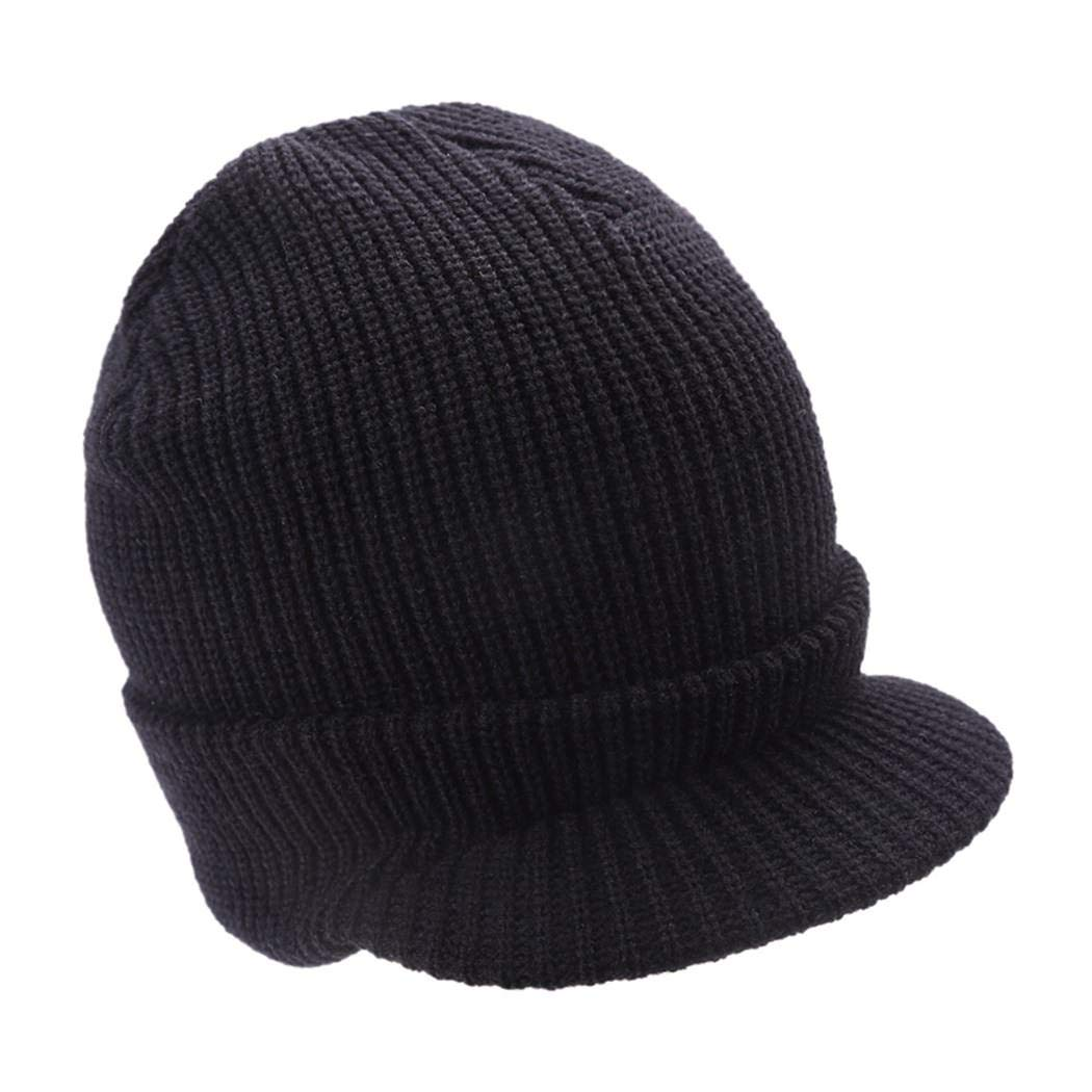 Mens Knit Campus Jeep Radar Hat Knit Cap Visor Hats Billed Beanie Ski Caps with Brim