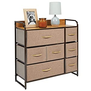 mDesign Wide Dresser Storage Chest, Sturdy Steel Frame, Wood Top, Easy Pull Fabric Bins - Organizer Unit for Bedroom, Hallway, Entryway, Closet - Textured Print, 7 Drawers - Coffee/Espresso Brown