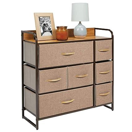 mDesign Wide Dresser Storage Chest, Sturdy Steel Frame, Wood Top, Easy Pull Fabric Bins - Organizer Unit for Bedroom, Hallway, Entryway, Closet - ...