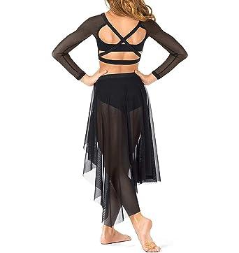 IEFIEL 2PCs Conjunto de Danza Baile Vestido Lírico Mailot Crop Top ...
