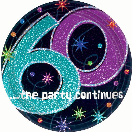 The Party Continues 60th Birthday Dessert Plates (60th Birthday Paper Plates)