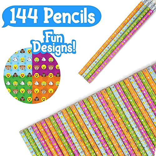 Totem World 144 Novelty Emoji Smiley Face Two Pencils - Durable Wood and Lead - Awesome Back-to-School Presents, Classroom Rewards, and Kids Party Favors - Won't Snap or Peel - Popular with Kids -
