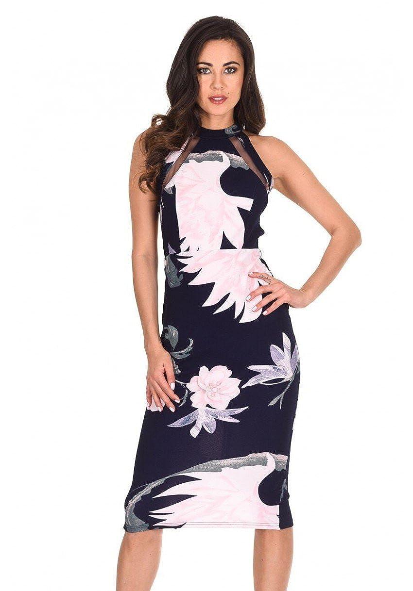 9937ed7f48007 Ax Paris Navy Floral Bandeau Bodycon Midi Dress | Huston Fislar ...