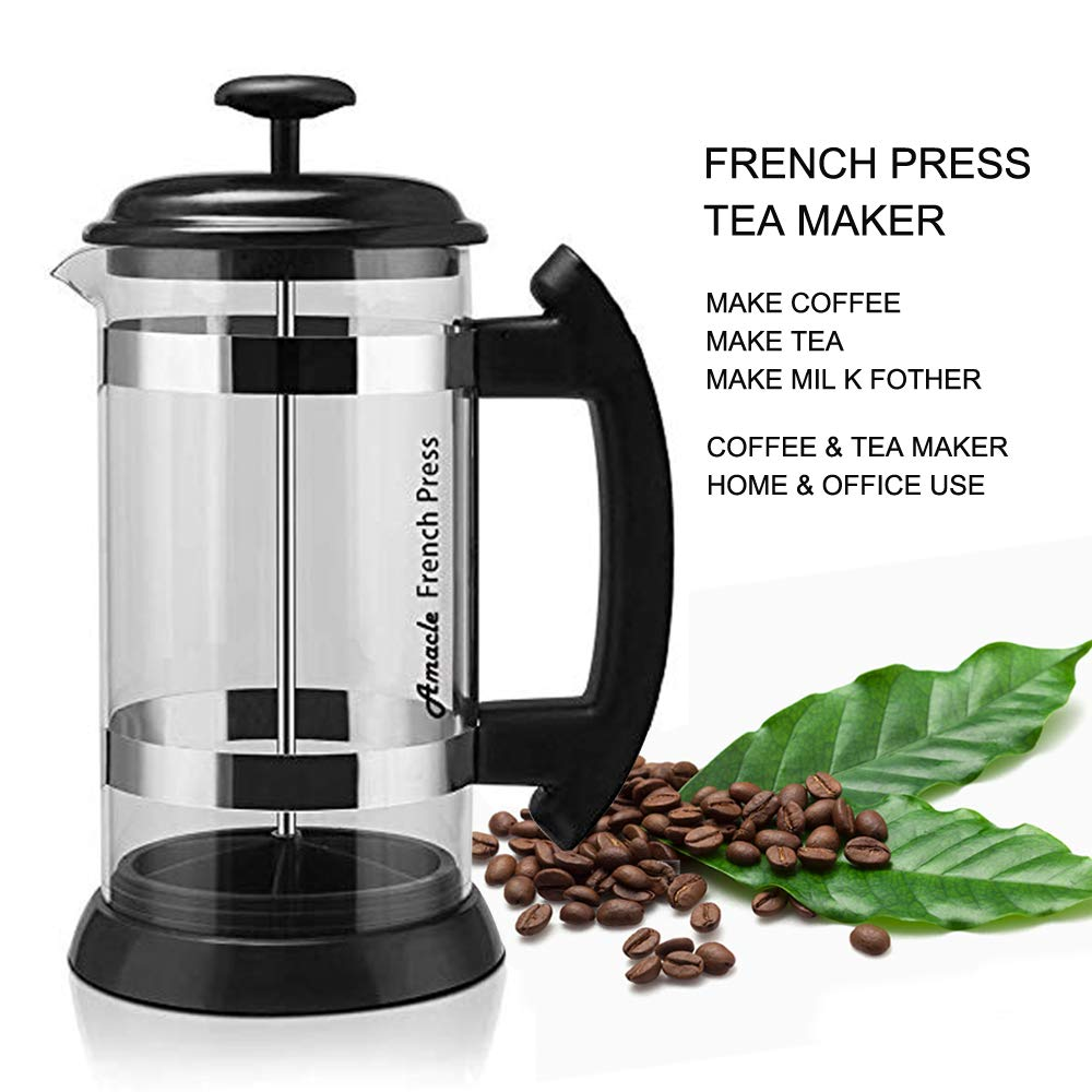 Amacle French Press Coffee Maker – 34 oz Tea Pods, Silicone Sealed Mesh Stainless Steel Filter, Perfect for Family, Single, Coffeeholic