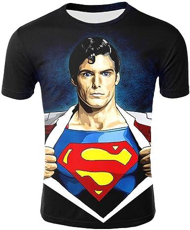 Wehor Camisetas Hombre T-Shirts Hombre Manga Corta Casual Camisa de Polo 3D Algodón Suave Secado Rapido Sudadera 0.2KG Superman XXXL: Amazon.es: Ropa y accesorios