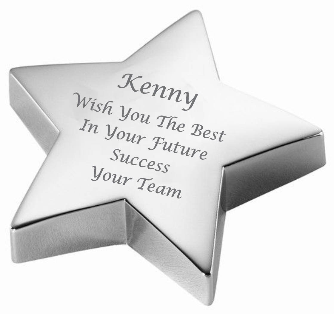 Personalized Silver Star Paperweight Engraved Free Paper Weight A & L Engraving