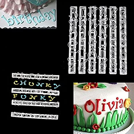 FMM Cortador Alfabeto Funky /& número Set Glaseado herramienta para Decoración de Pasteles Fiesta Divertida