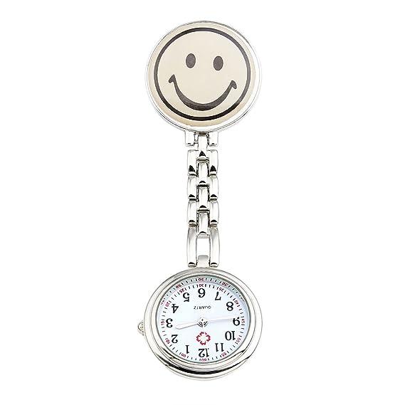 jsdde Relojes, Enfermeras FOB de reloj redondo Sonrisa Emoticon Mujer Hombre Enfermera Reloj de bolsillo