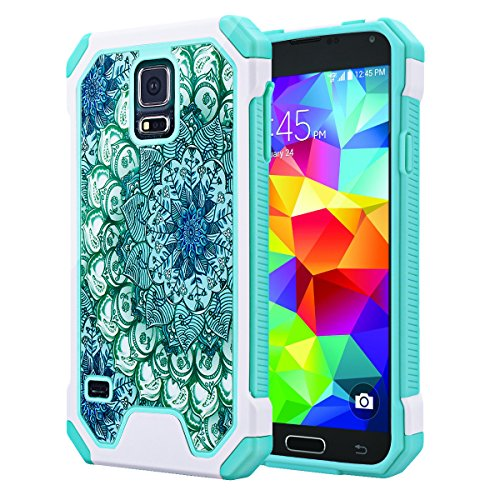 (Galaxy S5 Case, SmartLegend Hybrid High Impact Armor Defender Protective Case Heavy Duty [Anti-slip] Dual Layer Cushion Bumper Case for Samsung Galaxy S5 - Lotus Flower)