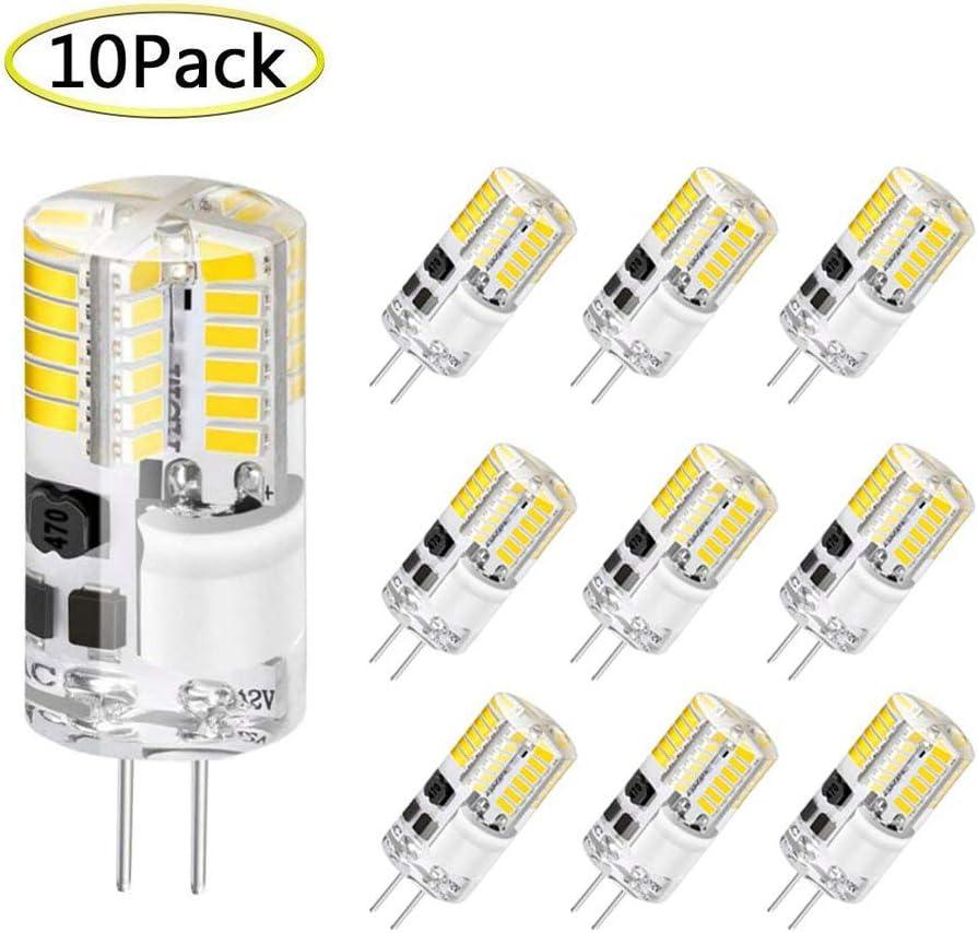 No Flicker G4 Bi-Pin 3W LED Light Bulb Lighting Equivalent 20W T3 JC Type Halogen Bulb G4 Dimmable LED Bulb AC//DC 12V Daylight White 6000K-6500K Corn Bulbs for Home Lighting 10 Pack