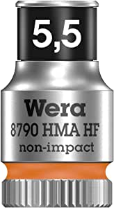 wera 05003720001 8790 HMa HF Zyklop Socket with 1-4 inch Drive with Holding Function, 5.5 mm - Nut Drivers