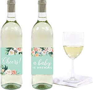 Andaz Press Peach Mint Green Floral Garden Party Baby Shower Collection, Wine or Apple Cider Bottle Labels, 10-Pack