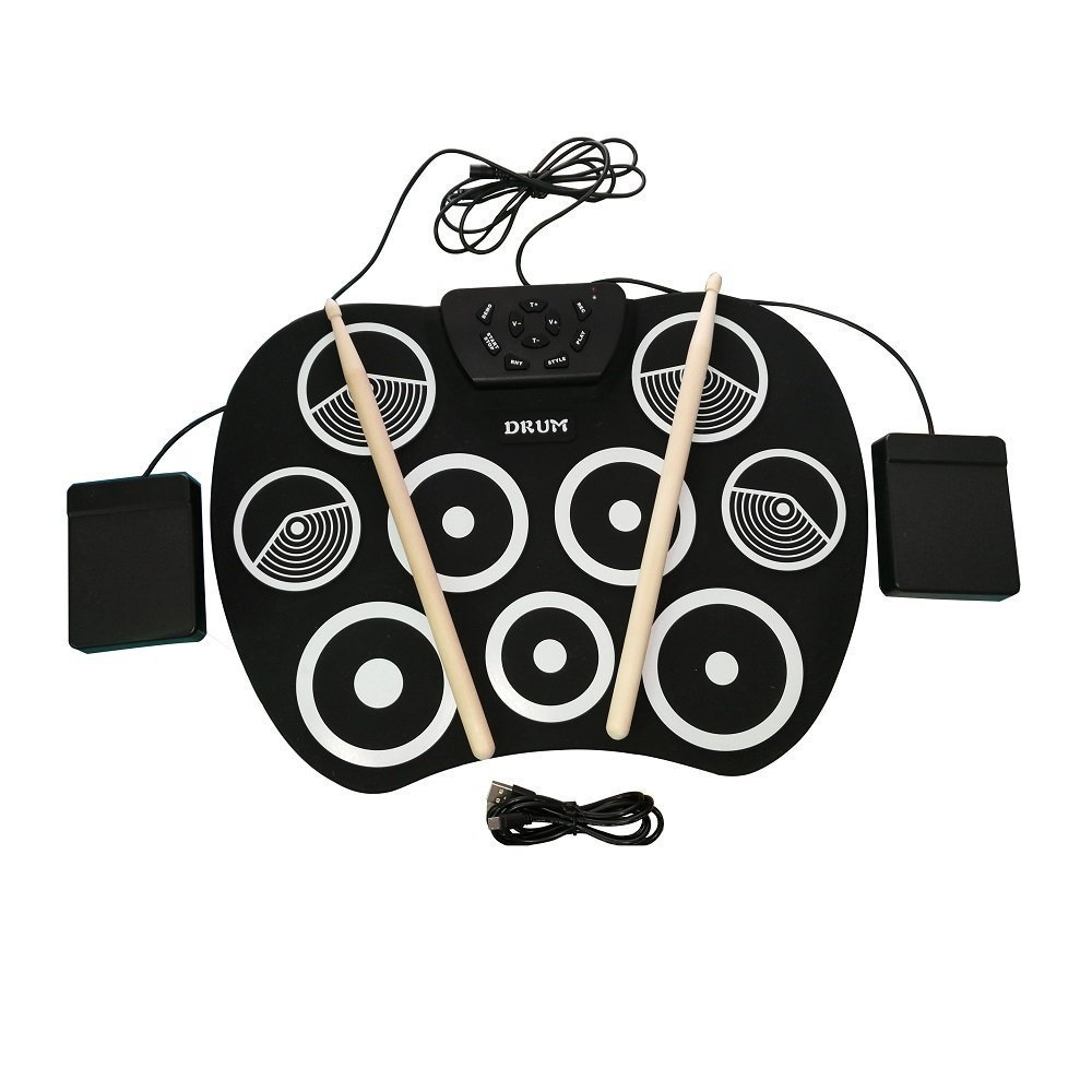 Portable Electronic Roll Up Drum Set, USB Digital 9 Pad Foldable Practise Electronic Drum Set Musical Instrument for Kids Beginners Children