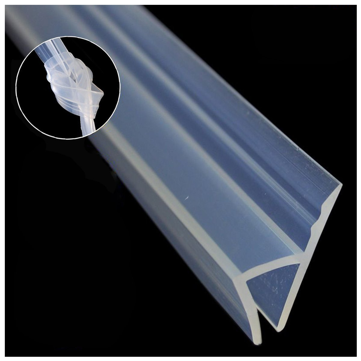 Glass Shower Door Seal Strip(No adhesive Include), 120inch Frameless Weather Stripping Seal Sweep for Door Windows, Flexible with Durable Weatherproof Silicone for 3/8'' Glass (h Shape) by SHOWEET