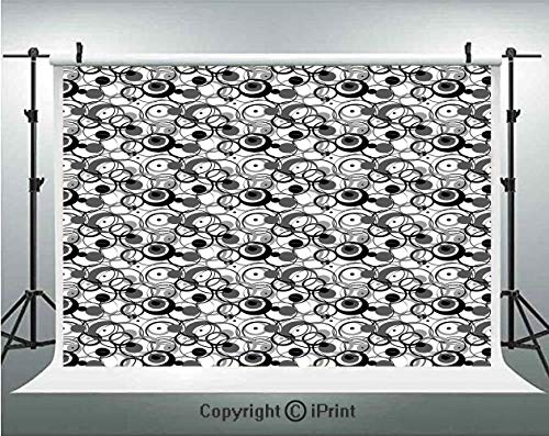 Abstract Photography Backdrops Monochrome Circles Dots Surreal Expressionism Inspired Geometric Modern Art Decorative,Birthday Party Background Customized Microfiber Photo Studio Props,10x6.5ft,Grey B